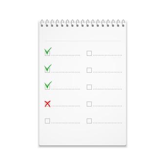 Bloc de notas con lista de verificación con marcas de verificación verdes