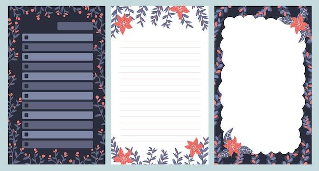 Bloc de notas de navidad, diario, postales, patrón, pegatina linda