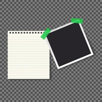Bloc de notas de papel y foto marco ilustración vectorial
