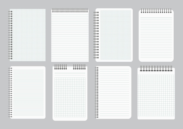 Bloc de notas con papel rayado y cuadriculado vacío con espiral de hierro encuadernador. juego de ocho hojas de cuadernos. ilustración vectorial