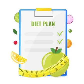 Bloc de notas con plan de dieta