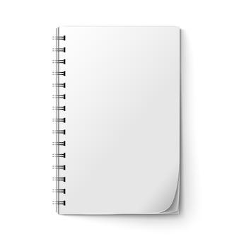 Bloc de notas realista en blanco