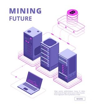 Blockchain, comercio de tokens, granjas de bitcoin y altcoin, banco de cifrado, concepto isométrico de vector ico con gente de negocios, computadora portátil, servidor