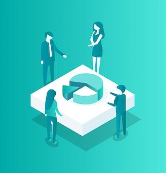 Blockchain crypto meeting icon illustration