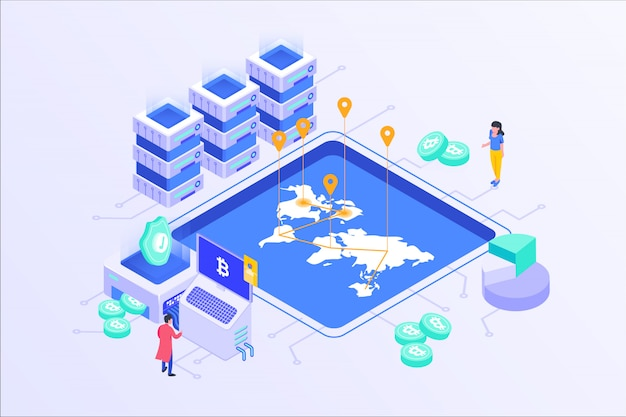 Blockchain cryptocurrency bitcoin mining servidor en línea isométrico vector illustartion diseño