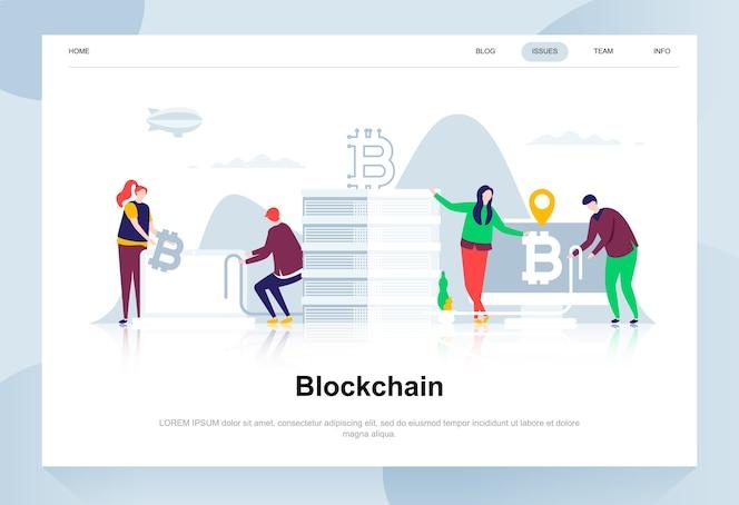 Blockchain moderno concepto de diseño plano.