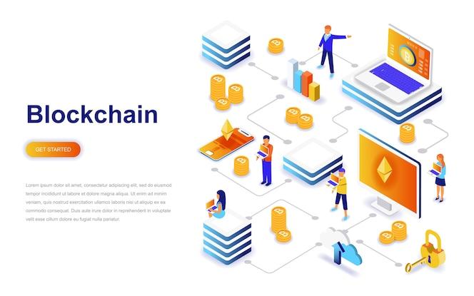 Blockchain moderno concepto isométrico de diseño plano.