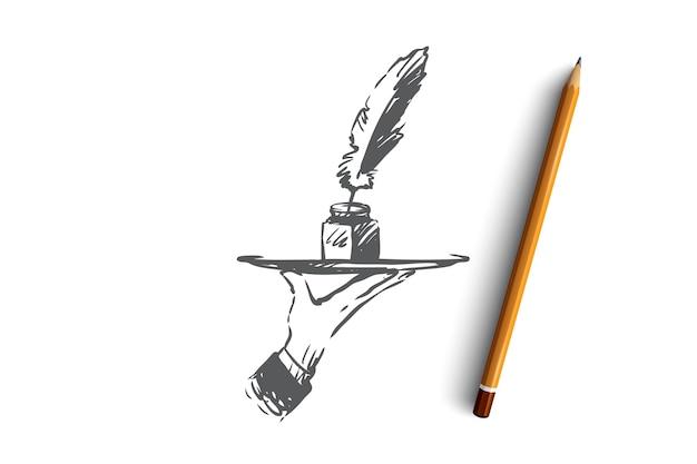 Blog, escritura, mensaje, sitio web, concepto de comunicación. dibujado a mano tinta y pluma en el bosquejo del concepto de mano humana.