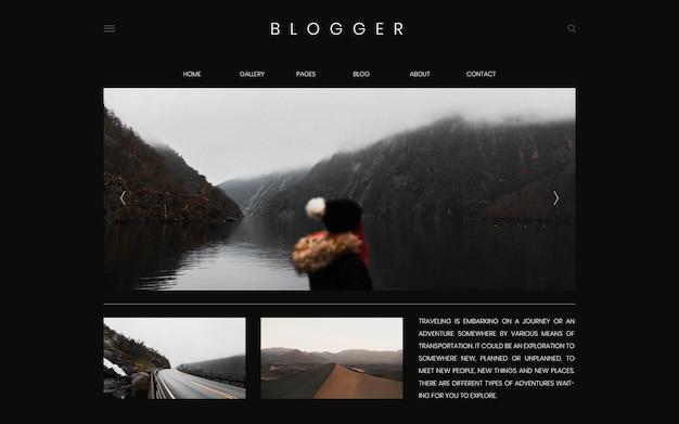 Blog de viaje primera página plantilla diseño vectorial
