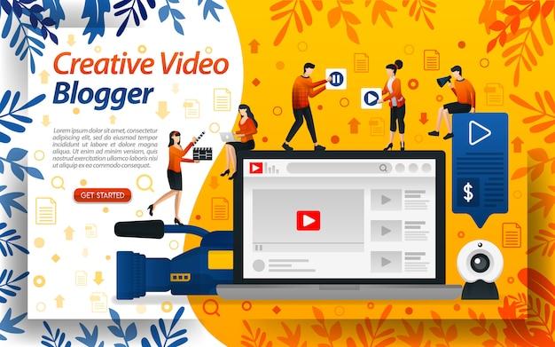 Blogger creativo del video. ilustraciones de estudio para vlog y celebridades.