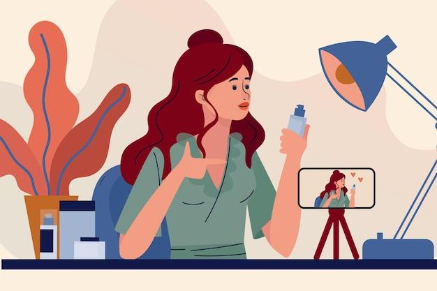 Blogger femenina revisando ilustración de productos