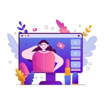 Blogger girl hace maquillaje y graba videos