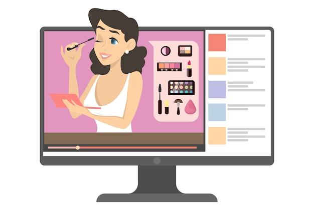 Blogger de maquillaje femenino en internet. contenido de video con mujer haciendo tutorial de maquillaje. belleza y moda. ilustración en estilo de dibujos animados.