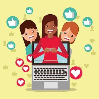 Blogger mujer en la pantalla contenido viral personas seguidores como amor