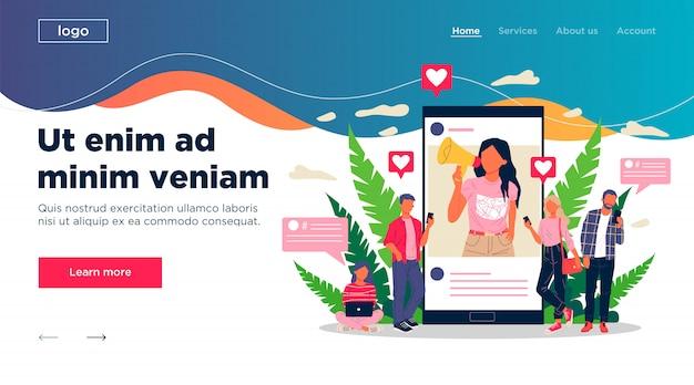 Blogger promocionando bienes y servicios para seguidores en línea