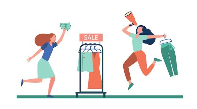 Blogger con venta de publicidad de megáfono en tienda de moda. cliente corriendo para ir de compras ilustración plana.
