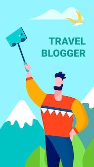 Blogger viajero compartiendo recuerdos en tarjeta de historias
