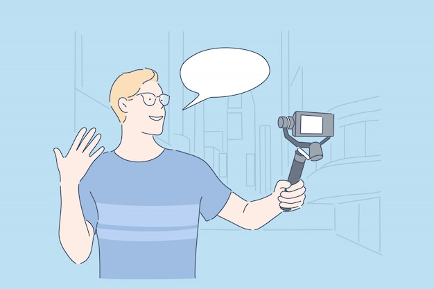Blogger de viajes vlogging concepto de transmisión en vivo