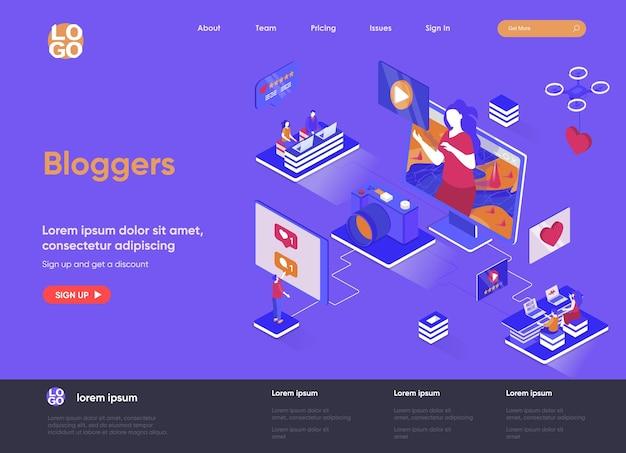 Bloggers 3d ilustración de sitio web de página de destino isométrica con personajes de personas
