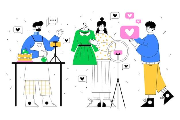 Bloggers de diseño plano dibujados a mano