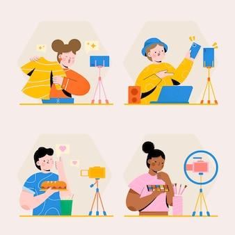 Bloggers ilustrados dibujados a mano filmando