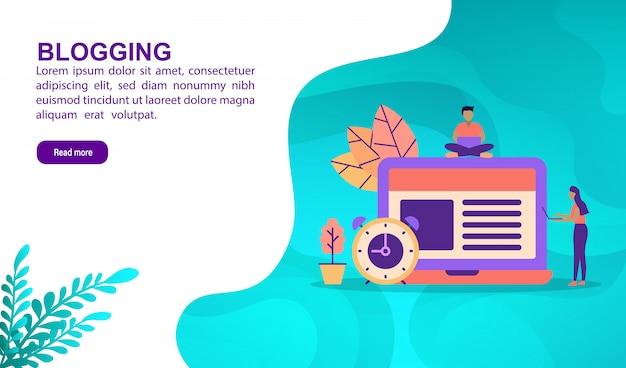 Blogging concepto de ilustración con carácter. plantilla de página de aterrizaje