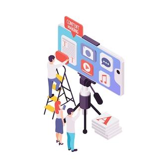 Blogging concepto isométrico con blogger haciendo contenido ilustración 3d