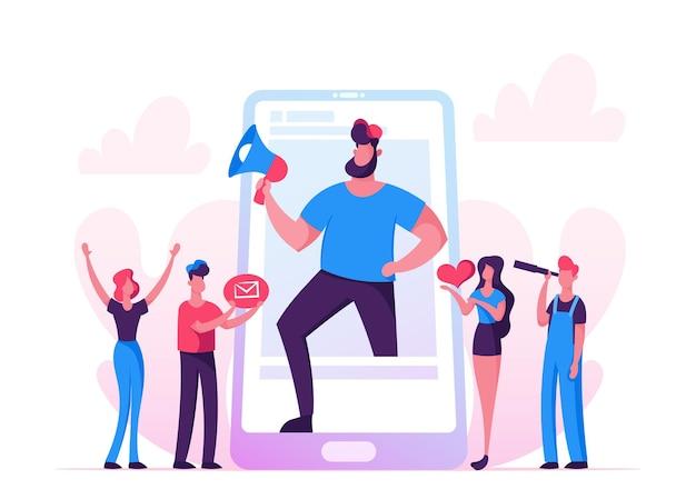 Blogging, ilustración de redes sociales. hombre enorme con soporte de megáfono en la pantalla del teléfono inteligente