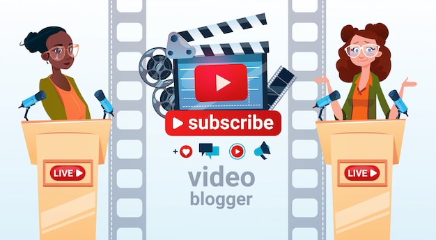 Blogging en línea de la mujer de blogger de dos mujeres blogging suscribe concepto