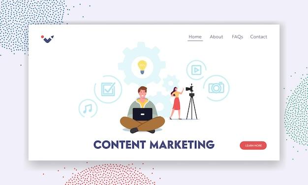 Blogging, redacción de artículos, plantilla de página de destino de marketing de creación de contenido. smm manager o blogger character crear una publicación de anuncios para internet. escritor, autónomo o autor. ilustración vectorial de dibujos animados