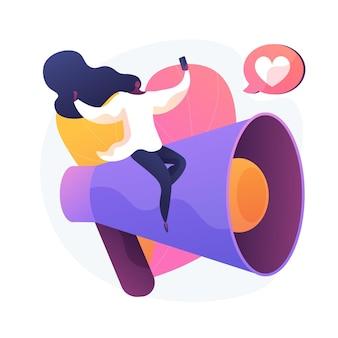 Blogueando divertido. creación de contenido, streaming online, videoblog. chica joven haciendo selfie para red social, compartiendo comentarios, estrategia de autopromoción ilustración de metáfora de concepto aislado de vector