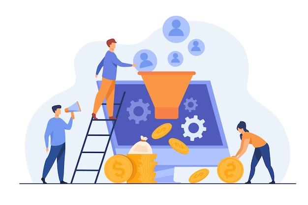 Los blogueros atraen audiencia y obtienen dinero. influencers generando nuevos leads. ilustración de dibujos animados