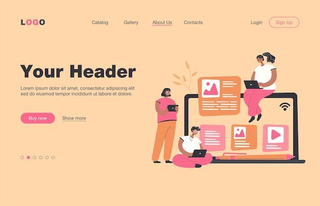 Blogueros e influencers que escriben artículos y publican contenido. autores de blogs que usan computadoras portátiles, gritan en megáfono, página de destino.