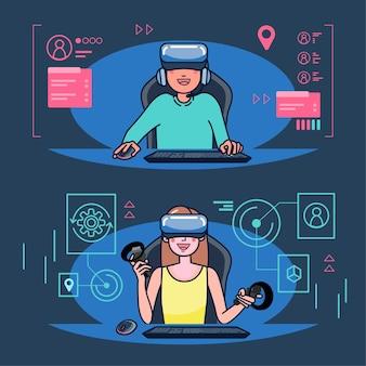 Los blogueros juegan juegos en vivo en sus canales en una audiencia mundial. los blogueros de juegos son muy populares entre los jugadores. ilustración plana