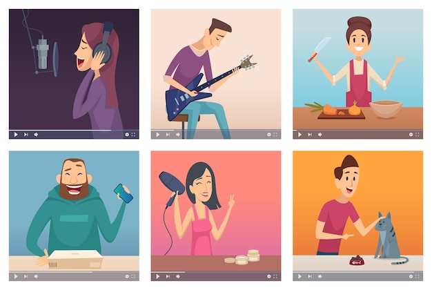 Blogueros de video. creadores de contenido digital creador multimedia entretenimiento web jóvenes influencers vector personajes de internet. medios de ilustración y video multimedia, contenido de internet en línea