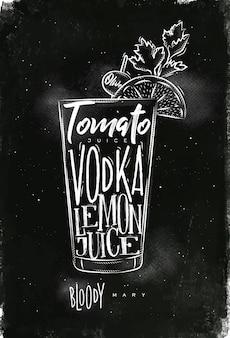 Bloody mary cocktail con letras en estilo pizarra