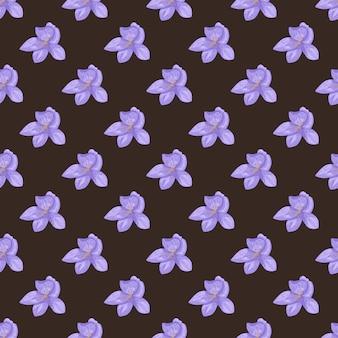 Bloom dibujado a mano de patrones sin fisuras con flores de color azul brillante