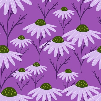 Bloom de patrones sin fisuras con elementos de flores de manzanilla al azar