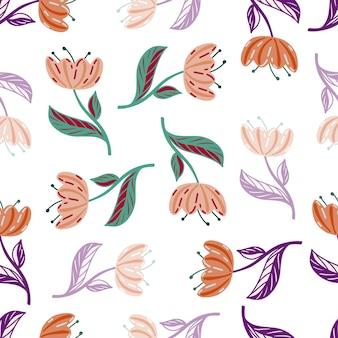 Bloom de patrones sin fisuras con elementos de flores de tulipán colorido al azar