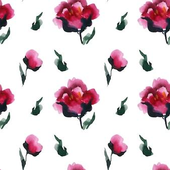 Blooming chinese peones de patrones sin fisuras, arte abstracto de acuarela