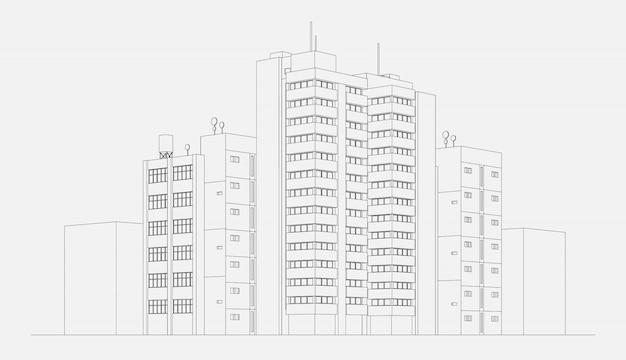 Bloque de construcción de apartamentos de arquitectura de la ciudad con torre y rascacielos dibujo lineal ilustración vectorial