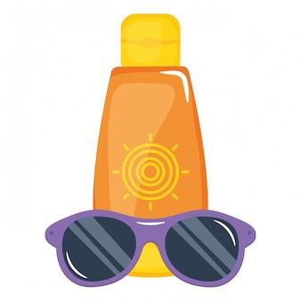Bloqueador solar botella con gafas de sol accesorio