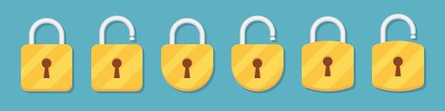 Bloquear y desbloquear la colección de iconos de candado en un diseño plano