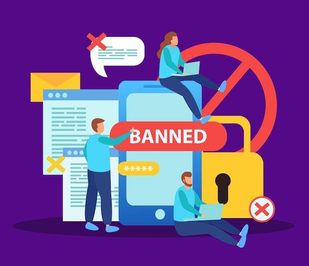 Bloquear a los usuarios de internet de las redes sociales para la composición plana del contenido con burbujas de mensajes prohibidos de bloqueo de teléfono inteligente