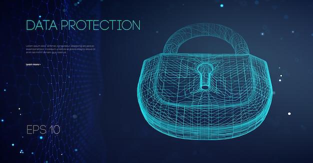 Bloqueo binario de protección de datos. ilustración de vector de soporte de ti. red de conexión segura y control de cuentas de seguridad de datos. ilustración de vector eps 10.