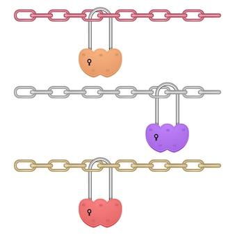 Bloqueo de corazón cerrado colgando de la cadena aislada
