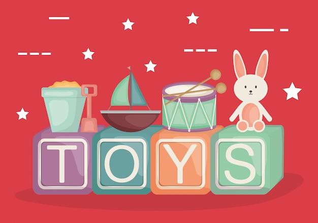 Bloques alfabéticos con juguetes de bebé