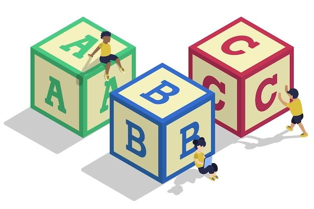 Bloques de alfabeto de niños isométricos