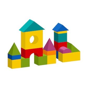 Bloques coloridos juguete edificio torre, castillo, casa
