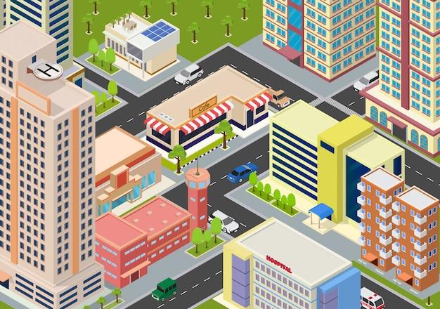 Bloques de megalópolis de ciudad isométrica plana